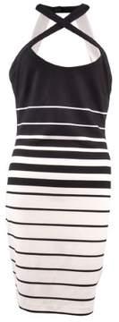 GUESS Women's Striped Criss Cross Neck Dress (8, Black/White)
