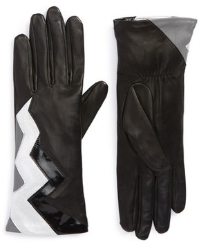 Agnelle Women's Zigzag Lambskin Leather Gloves