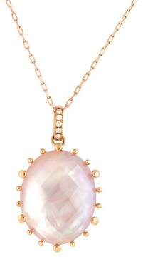Frederic Sage 18k Pg Large Oval Checker Top Pink Mop, Crystal and Diamond on Bale Tivoli Pendant With Chain