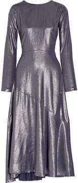 Cédric Charlier Wrap-effect Lamé Midi Dress - Gunmetal
