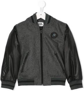 Karl Lagerfeld contrast sleeve bomber jacket