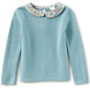 Edgehill Collection Made With Liberty Fabrics Little Girls 2T-4T Printed-Collar Long-Sleeve Top