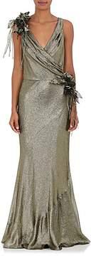 Alberta Ferretti Women's Flower-Detailed Silk-Blend Lamé Gown