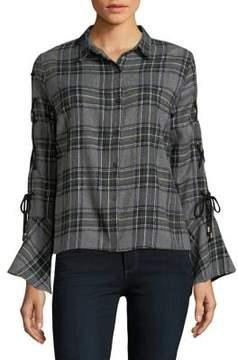 Buffalo David Bitton Lace-Up Sleeve Button-Down Shirt