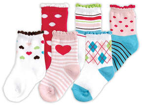 Luvable Friends Pink Six-Pair Computer Cushion Socks Set - Infant