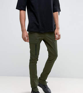 Asos TALL Super Skinny Fit Pants with Zip Cargo Pockets in Khaki