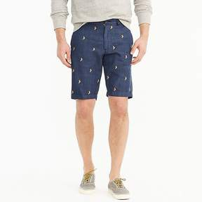 J.Crew 10.5 Embroidered Seahorse Chambray Short