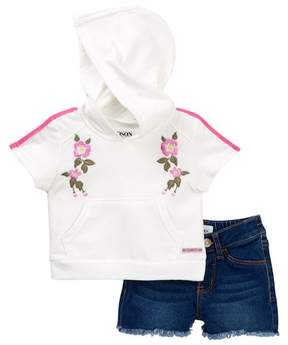 Hudson French Terry Pullover Hoodie & Shorts Set (Baby Girls)