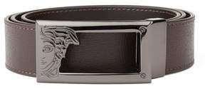 Versace Men's Medusa Steel Buckle Saffiano Leather Belt Brown.