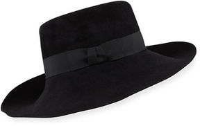 Eric Javits Candice Velour Fedora Hat w/ Ribbon Bow