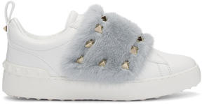 Valentino White and Blue Garavani Fur Laceless Rockstud Sneakers