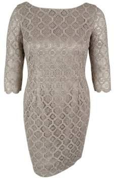 Vince Camuto Women's 3/4 Sleeve Metallic Dress (14, Taupe)