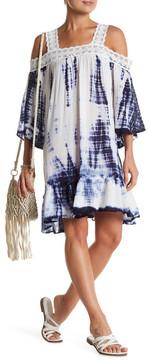 En Creme Tie-Dye Cold Shoulder Dress