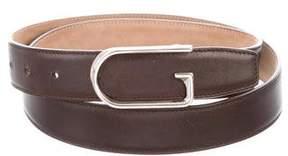 Gucci Silver-Tone Leather Belt