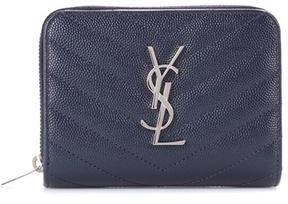 Saint Laurent Classic Monogram leather wallet - BLUE - STYLE