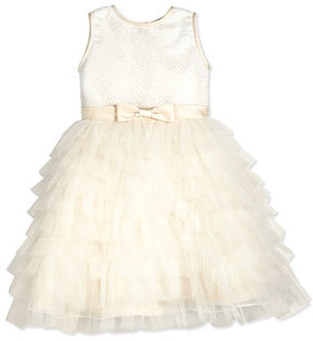 Joan Calabrese Sleeveless Sequin Tiered Dress, Ivory, Size 2-14