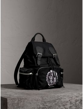 Burberry The Medium Rucksack in Technical Nylon with Pallas Heads Appliqué - BLACK/WHITE - STYLE