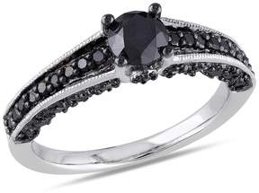 Black Diamond Amour 1 CT TW Fashion Ring Silver Black Rhodium Plated Size 7