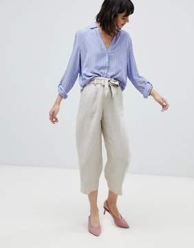 Esprit Linen Mix Cropped Wide Leg Pants