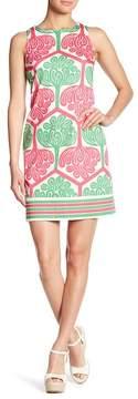 London Times Printed Cotton Sateen Shift Dress