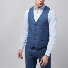 River Island Mens Blue linen vest