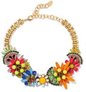 Elizabeth Cole 24-Karat Gold-Plated Swarovski Crystal And Stone Necklace