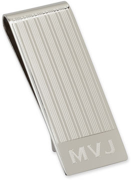 Asstd National Brand Sterling Silver Personalized Pinstriped Money Clip