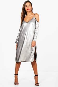 boohoo Sequin Cold Shoulder Midi Dress