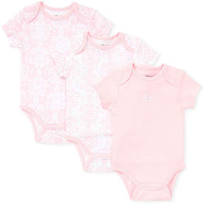 Little Me Baby Girls' 3-Pack Damask Scroll work Bodysuits