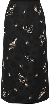 Erdem Maira Embroidered Cotton-blend Jacquard Pencil Skirt - Black