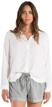 Bella Dahl Fray Hem Side Button Shirt-White-XS