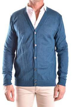 Hosio Men's Blue Cotton Cardigan.