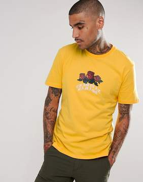 Criminal Damage T-Shirt In Yellow With Rose Logo
