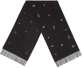 Gucci Embroidered silk cashmere scarf
