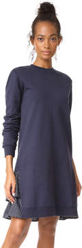 Clu Too Polka Dot Ruffled Sweatshirt Dress