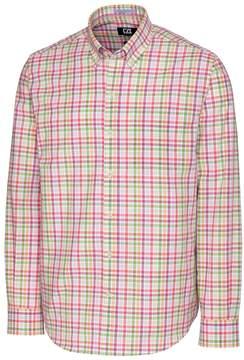Cutter & Buck Pink & Green Plaid Laurel Grove Wrinkle-Free Button-Up - Men