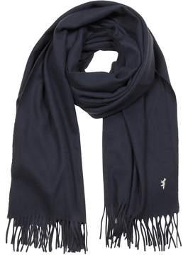 MAISON KITSUNÉ Navy Blue Fringed Wool Scarf