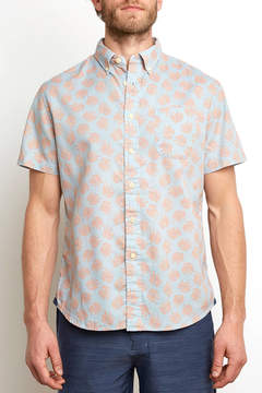 Grayers Blue Palm Leaf Short Sleeve Woven Button Down