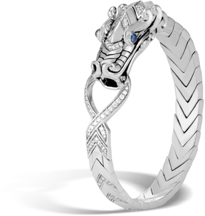 John Hardy Men's Legends Naga Station Bracelet in Sterling Silver with Pave White Diamond (1.76ct)
