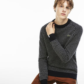 Lacoste Men's Live Crew Neck Wool Blend Mini Jacquard Sweater