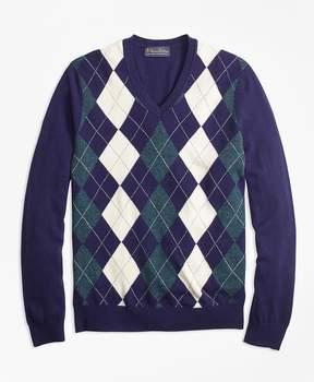 Brooks Brothers Cashmere Argyle V-Neck Sweater