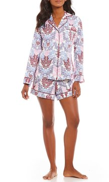 BedHead Plum Chloe Lace-Print Sateen Pajamas