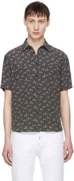 Saint Laurent Black Dots and Swirls Yves-Neck Shirt