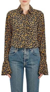 Derek Lam 10 Crosby Women's Floral Silk Bell Sleeve Button-Front Blouse