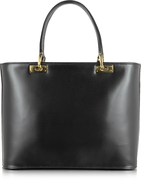 Fontanelli Polished Black Leather Tote Handbag