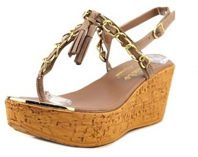 Callisto Tella Open Toe Leather Wedge Sandal.