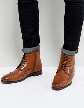 Dune Brogue Boots In Tan