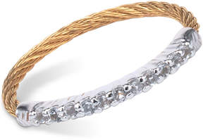 Charriol Women's Laetitia White Topaz-Accent Two-Tone Pvd Stainless Steel Cable Ring