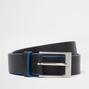 River Island Mens Black leather blue edge buckle belt