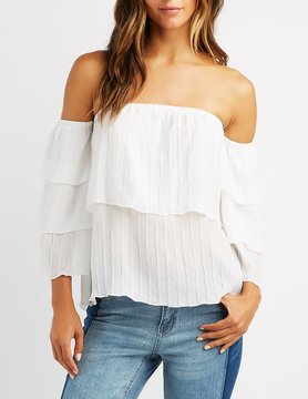 Charlotte Russe Tiered Bell Sleeve Off-The-Shoulder Top